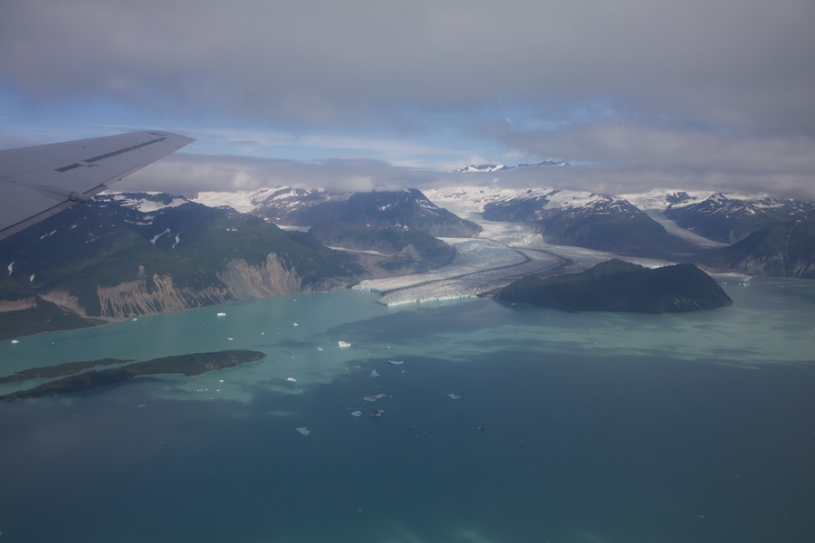 Alsek Lake through the dirty windows of this ancient plane.