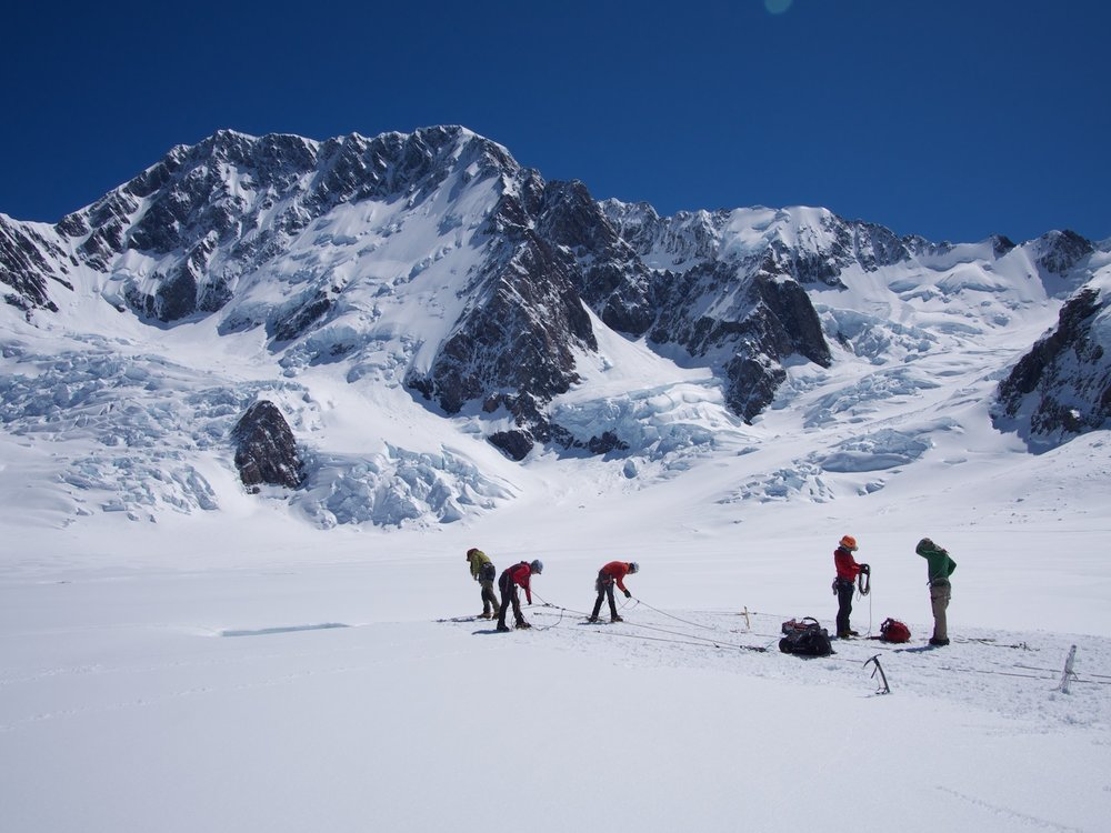 High alpine skills course, Mt Cook behind