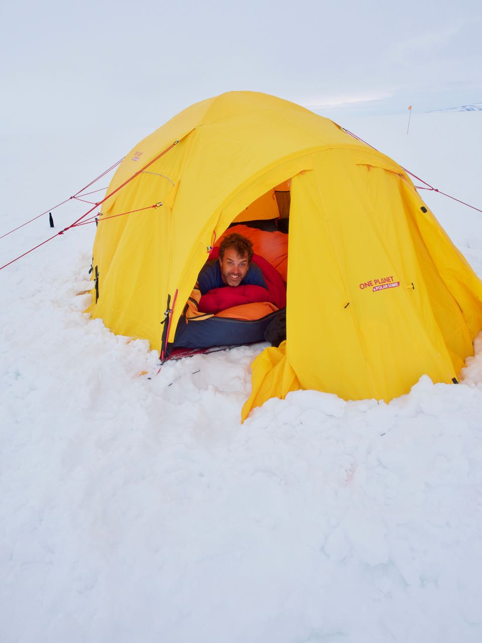 Cozy out of the wind in a double sleeping bag