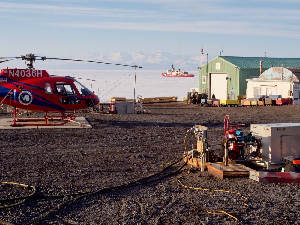 A view of the icebreaker from our landing pad at McMurdo Station.