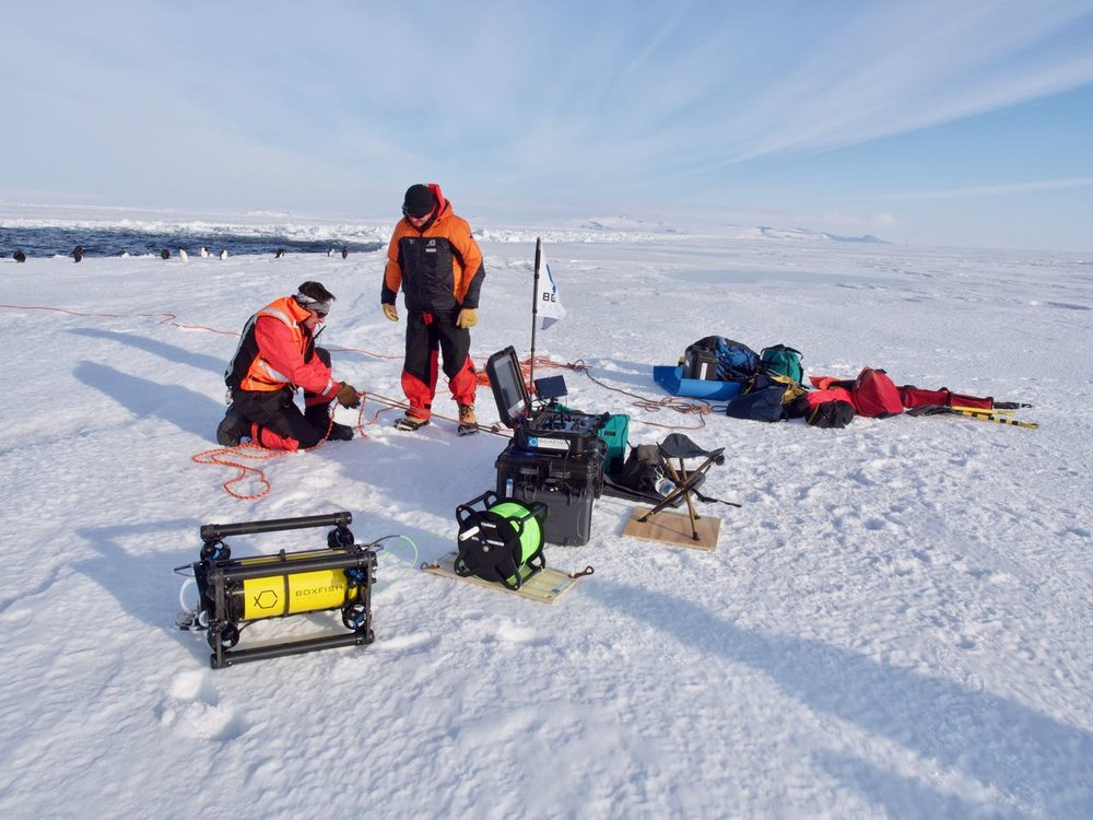 The Boxfish ROV ready to dive at the ice edge in McMurdo Sound.