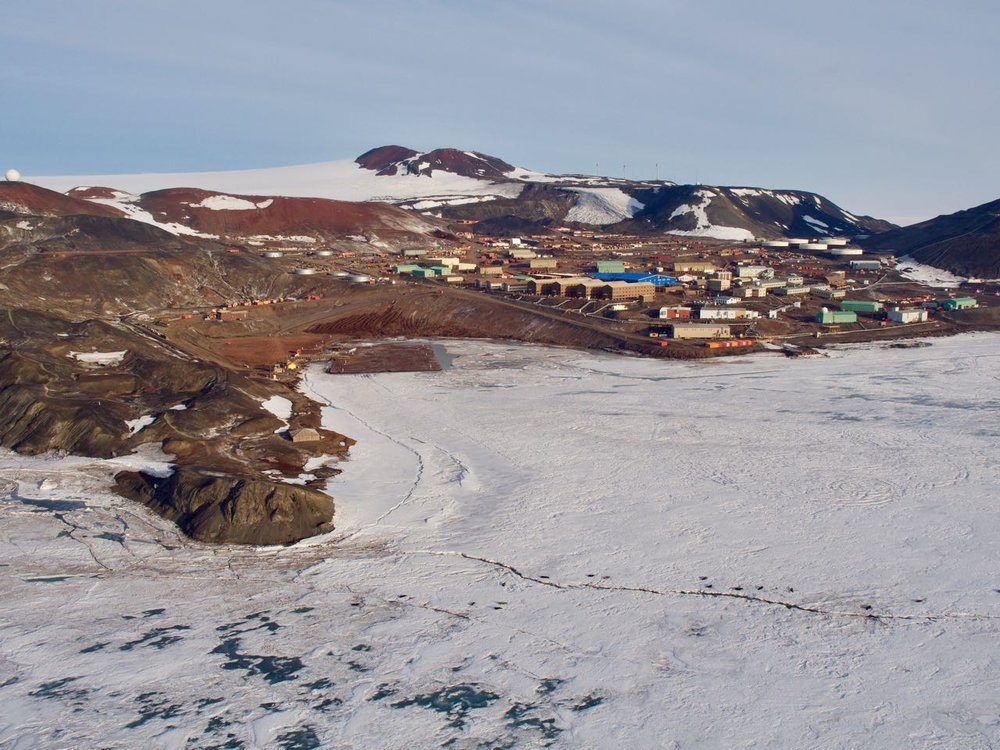 McMurdo station complete with the ice pier where the container ship will be unloaded (left).