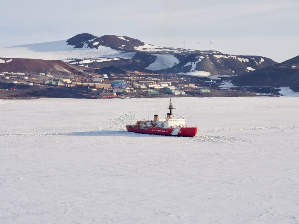 The Polar Star in front of McMurdo Station.