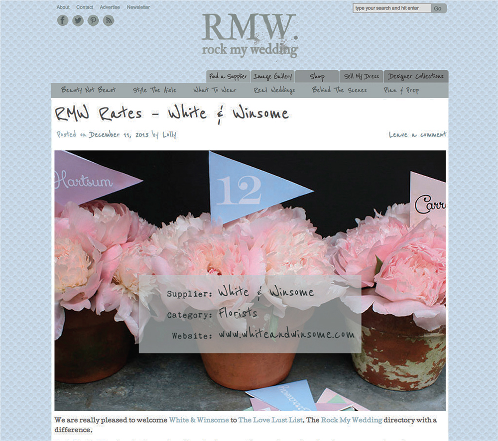 Rock my wedding white winsome wedding florist beautiful bridal today we entered the company of the many talented folk featured on the the rocking website for uk brides rock my wedding yay mightylinksfo