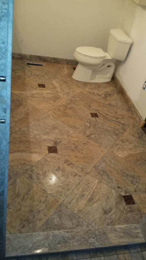 Our Silver Travertine with Installation by Master Tile