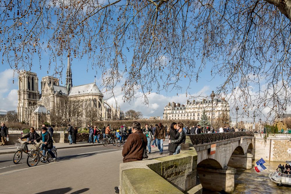 Vue sur la cathédrale Notre-Dame depuis le pont de l'Archevêché. Paris. © Sébastien Borda