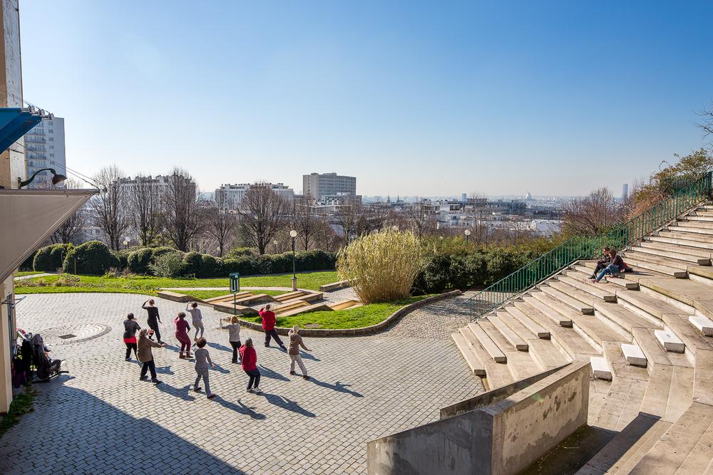 Vue sur le parc de Belleville. Paris. © Sébastien Borda