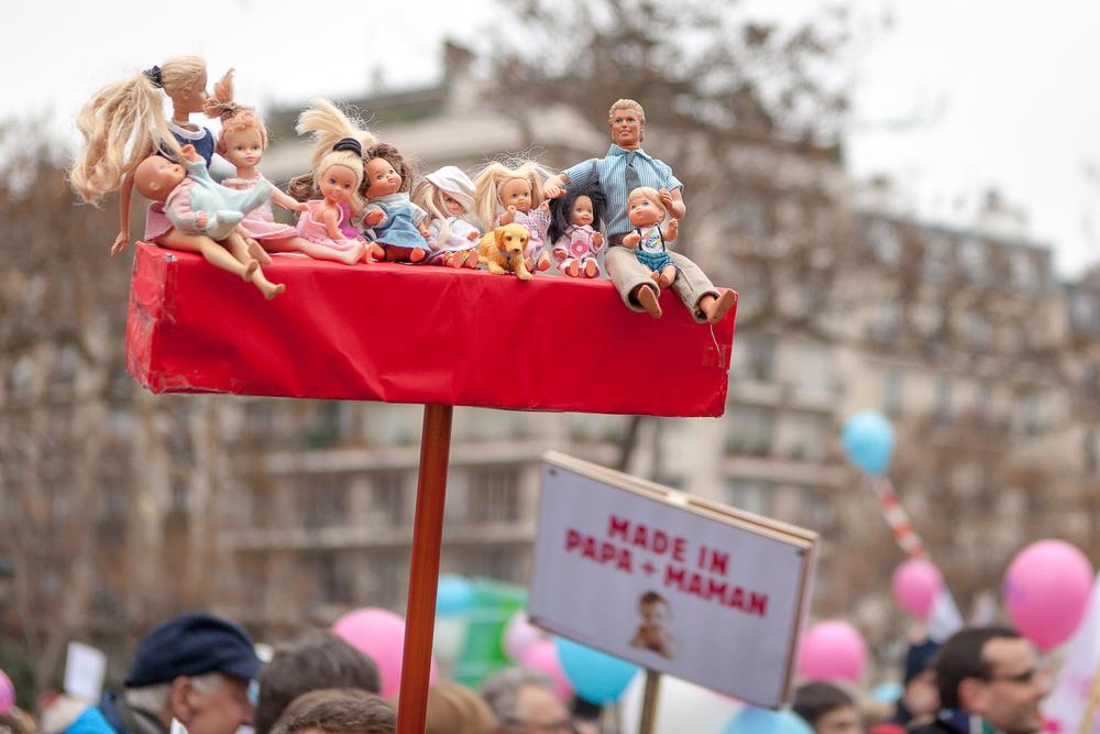 La familleselon les oposants du mariage pour tous, La Manif pour tous, 13 janvier 2013. © Sébastien Borda