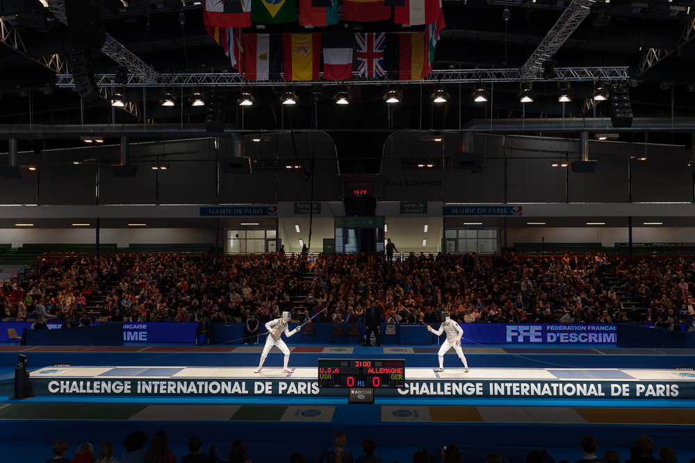 Début du match opposant les Etats-Unis à l'Allemagne. Challenge international de Paris, 27 janvier 2013. © Sébastien Borda