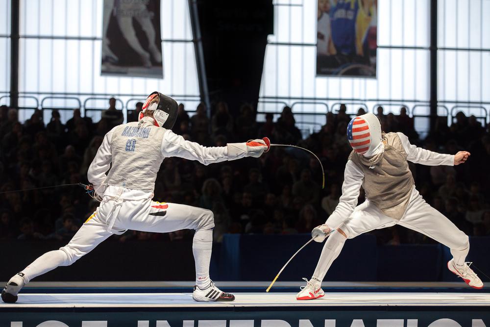 Action de jeu pendant le matchopposant les Etats-Unis à l'Allemagne. Challenge international de Paris, 27 janvier 2013. © Sébastien Borda