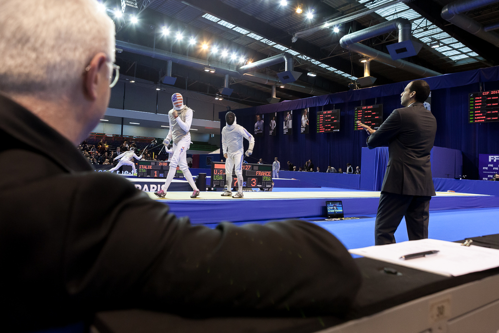 Point marqué par un joueur de l'équipe des Etats-unis.. Challenge international de Paris, 27 janvier 2013. © Sébastien Borda