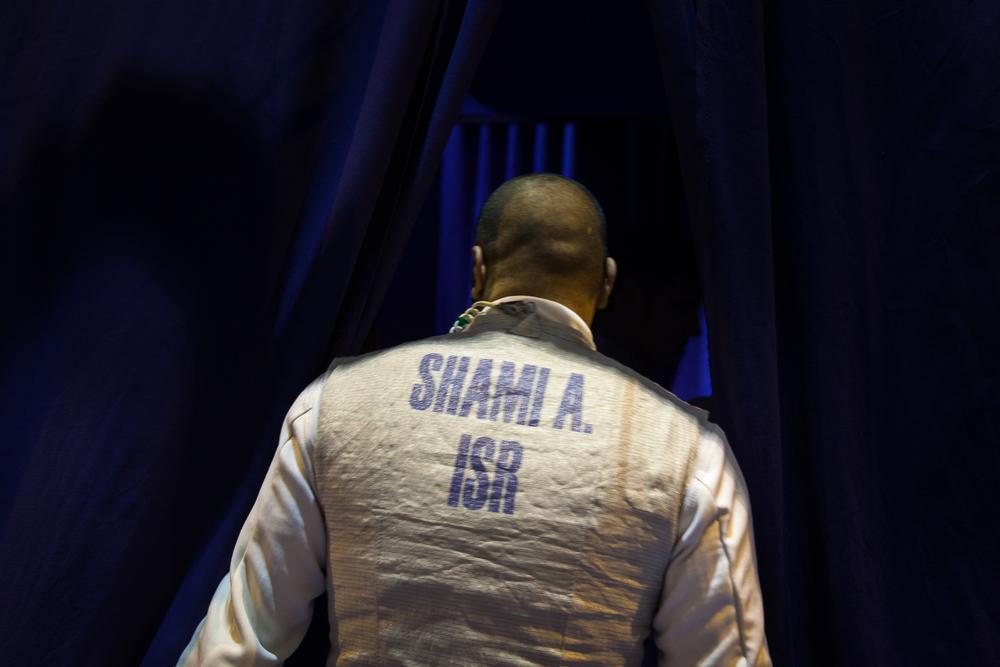 A. Shamir, joueur de l'équipe Israëlienne à l'entrée des vestiaires.. Challenge international de Paris, 27 janvier 2013. © Sébastien Borda