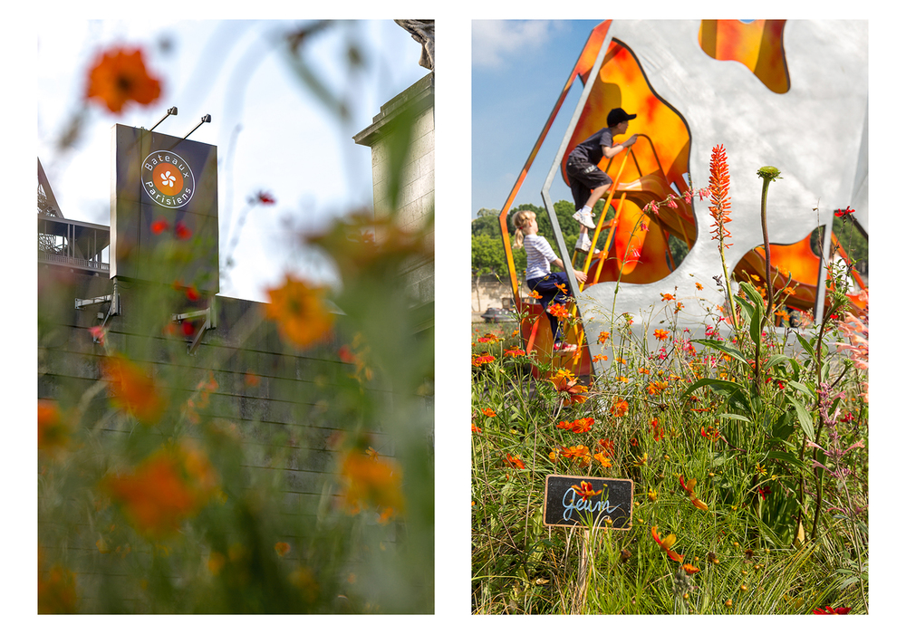 Logo Bateaux Parisienset jeux d'enfants Petites Fleurs Folies. © Sébastien Borda