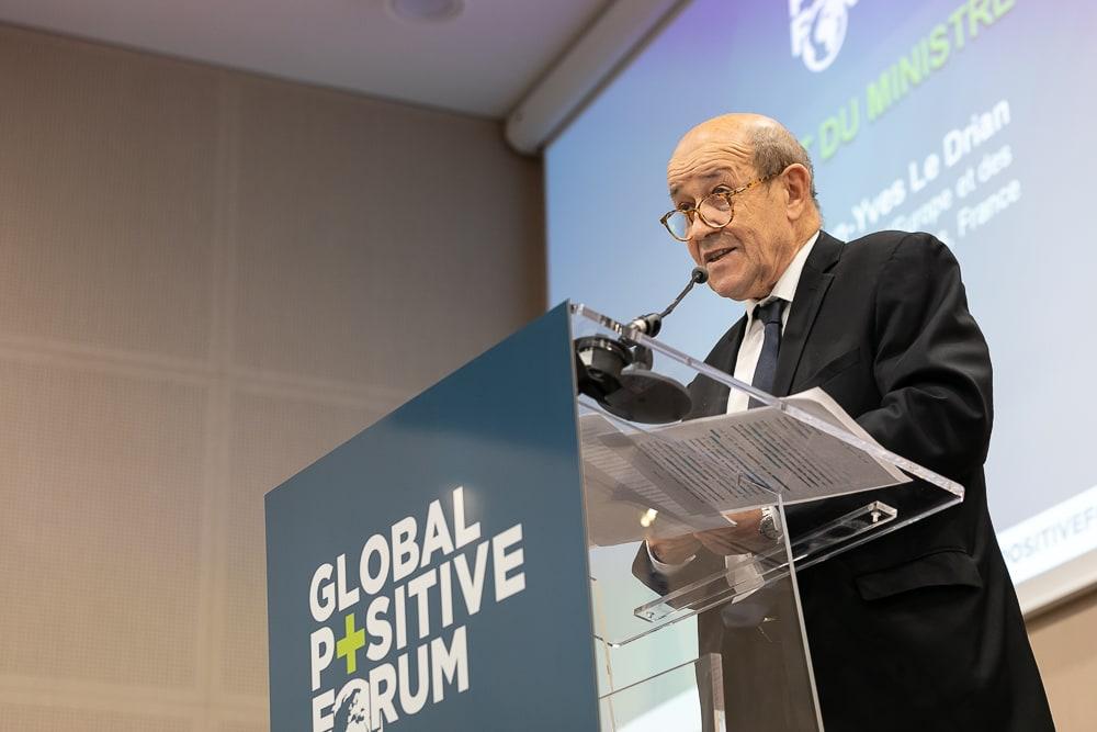 Discours de J.Y Le Drian, Ministre des Affaires étrangères pendant la conférence Global Positive Forum Paris. 2018. Sébastien Borda | www.sebastienborda.com