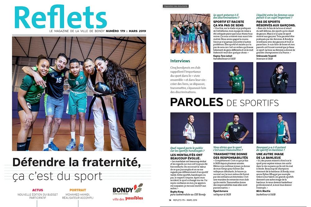 Publications d'une série de portraits et couverture du magazine Reflets de la ville de Bondy . © Sébastien Borda I www.sebastienborda.com