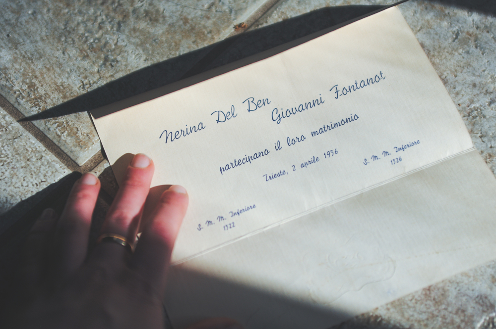 I believe this is their invitation. I've been wearing my Nonna's wedding ring for the past 5 years. Inside is my Nonno's name, Gianni, and the date they were married. Nonno is buried with his ring.
