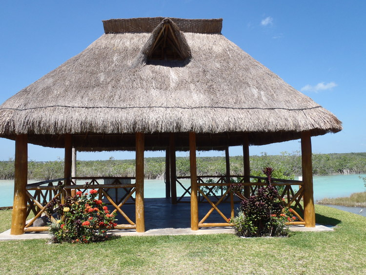 Riverfront palapa for your barbecue fiestas.