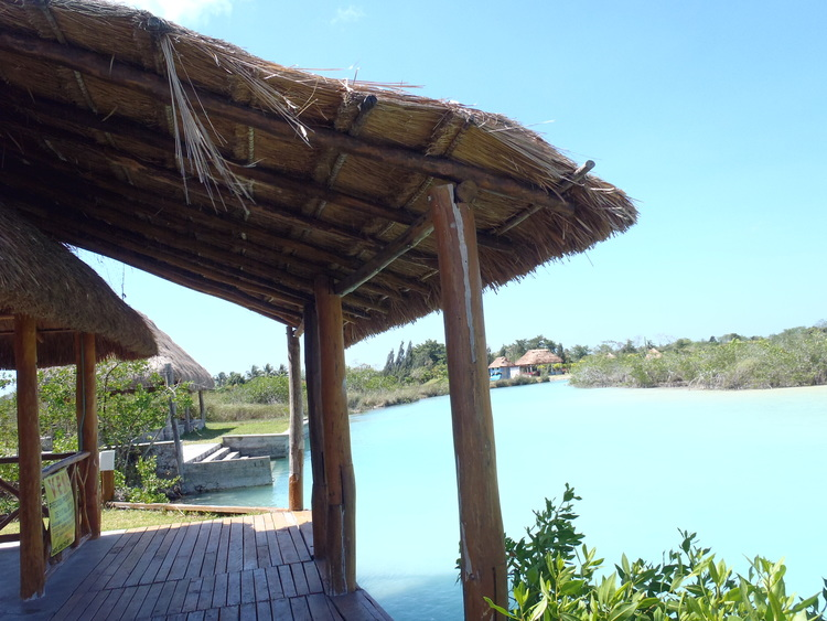 The riverfront palapa is where you launch your boat and head off into  Bacalar. No traffic!