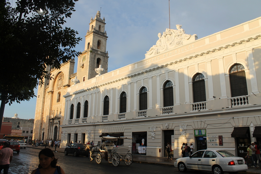 Merida's cathedral (left) and the Ateneo building, now an art gallery, in downtown Merida