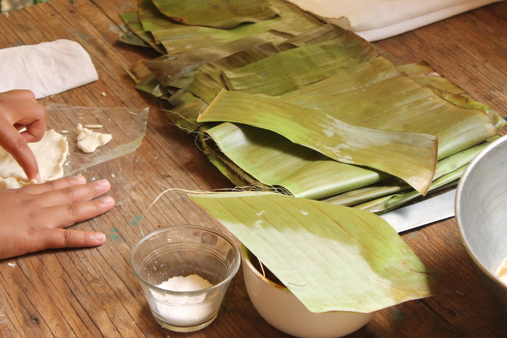 Banana leaves, corn masa and salt. Getting ready to make some tamales!