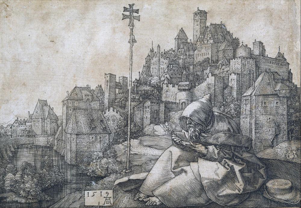 """Albrecht Dürer, """"St. Antony,"""" copper engraving, 1519"""