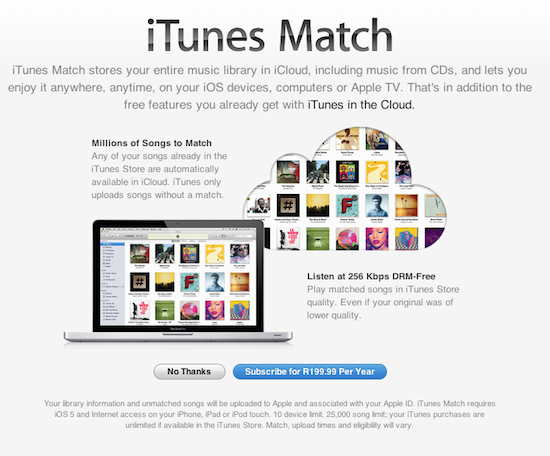 iTunes Match South Africa