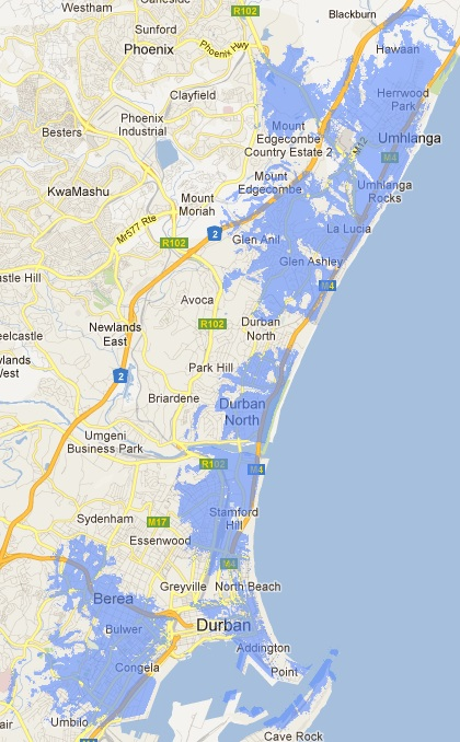 Durban LTE coverage map on CellC