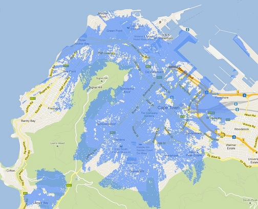 Cape Town LTE coverage map on CellC