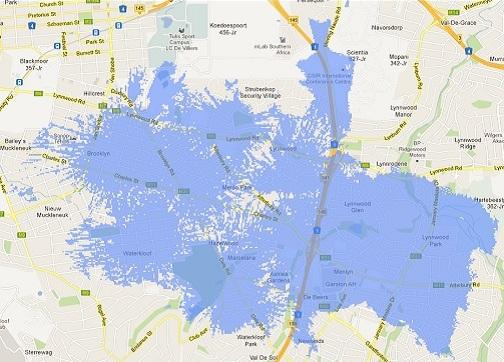 Pretoria LTE coverage map on CellC