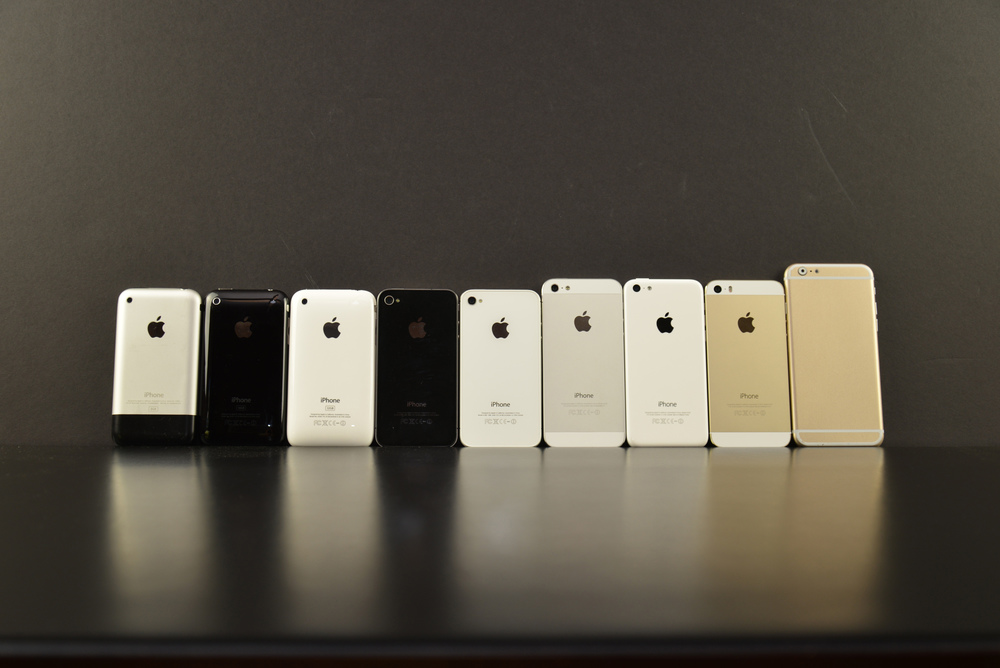 Original iPhone, iPhone 3G, iPhone 3Gs, iPhone 4, iPhone 4s, iPhone 5, iPhone 5c, iPhone 5s, iPhone 6 Mock Up