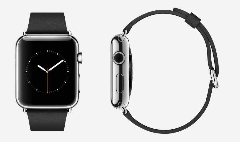Apple Watch, Stainless Steel with Black Leather band