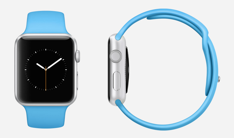 Apple Watch Sport, Silver with BlueFluoroelastomer band
