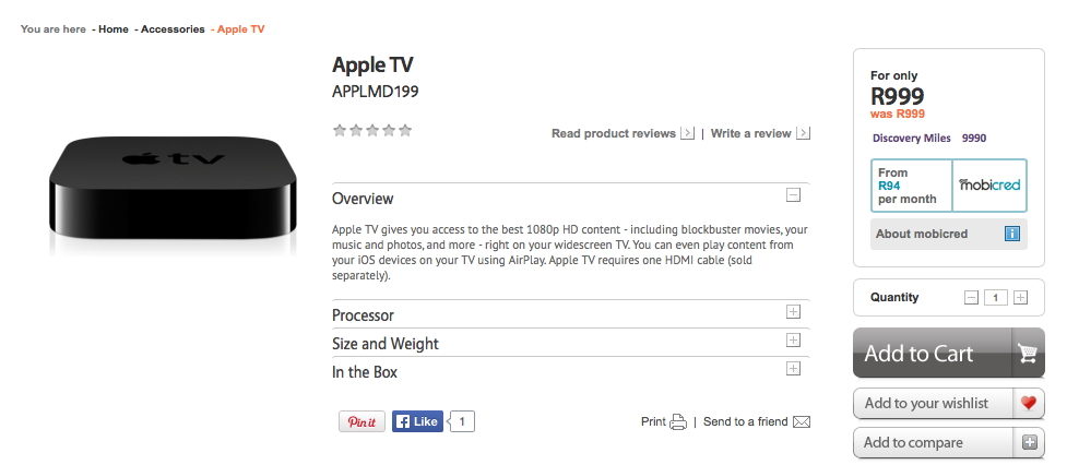 iStore drops the price of Apple TV to R999 Apple TV