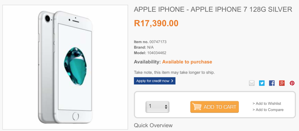 iPhone 7 128GB from Dion Wired - R17 390