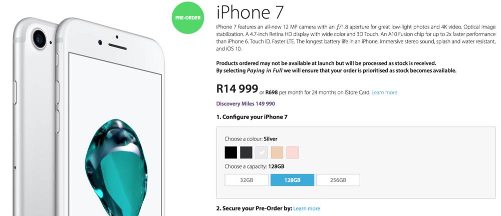iPhone 7 128GB from iStore R14 999