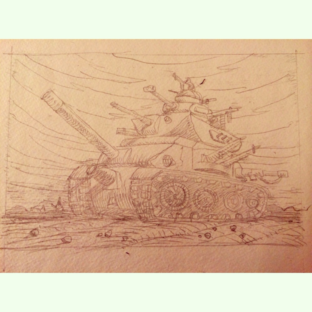 "First update in a while, sorry everyone. Iv'e been taking some time away from comics to focus on painting again. I felt that color I wanted to introduce color back into my work, so I did a few paintings to make sure I still am comfortable with it. Anyways, here is the initial pencil drawing for, ""Keep Your Friends Close, Keep A Sherman Tank Closer""."