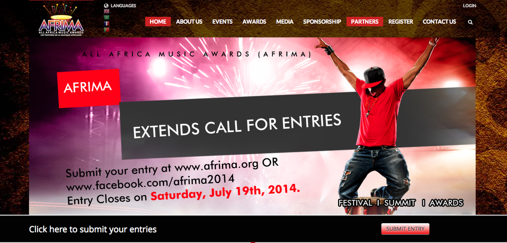 "The All Africa Music Awards, AFRIMA, in partnership with African Union Commission, has  extended  the call for entries for the 2014 edition by two weeks, from  July 5 to July 19, 2014 . Submission of entries for the continental award project aimed at showcasing the culture of Africa and rewarding the music talents, had opened on May 15, 2014 and closed on July 5, 2014.       Going by the enthusiastic response of African music professionals and journalists who have flooded the AFRIMA website with entries from across the continent and from Africans in the Diaspora, the International Committee of AFRIMA was under pressure from the African music and media industry to extend the closing date to accommodate the late entrants who are eager to be part of the award process but are constrained by limited internet access in their various cities.    * Eligibility: Music professionals of African origin living either on the continent or abroad are eligible. The award is open to Artistes, Songwriters, Video Directors, Music Producers and Music Journalists as well as unrecorded artistes.         Entries will close on Saturday, July 19 at 12.00 a.m. UTC  (Universal Time Coordinated). The entry guidelines remain as before on AFRIMA website: www.afrima.org. Format of submission:  Only musical or journalistic works released or published in the year under review- May 31, 2013 to July 18, 2014  are eligible for submission.       Entries should be done by completing the registration form on AFRIMA website and other AFRIMA social media platforms.   * Entry Registration link is also available on Twitter:   @AFRIMAWARDS   and   Facebook  :           A French, Portuguese and Arabic version of the entry form is available on AFRIMA's Facebook page. A URL link of the uploaded work on YouTube ONLY must be included in the space provide on the entry registration form.       For hard copy entries, download the registration form and the completed copy alongside two copies of the entry must be sent to the nearest physical address provided on the AFRIMA website. Qualified entries will be selected by the Academy of AFRIMA which consists of the Jury and College of Voters.       Explaining further, AFRIMA Director of Brand Communications and Sponsorship, Ms. Matlou Tsotetsi said:""First, I must say we are impressed by the level of participation by Africa, on the continent and in the Diaspora, in the entry submission process. This is an encouraging success marker for us considering the fact that we surpassed the 1000 mark. We are receiving entries from African music professionals and journalists in countries like Finland, Germany, and other interesting locations.       ""Secondly, some regions of Africa have appealed to us for this extension and we are obligated to accede to them in the spirit of our FACE IT value of Fairness, Accountability, Creativity, Excellence, Integrity and Transparency. There can be no fair play or competition if there is no equal representation. We hope this 14 days will give everyone a chance to get involved in AFRIMA"".       In partnership with the African Union Commission and Ministry of Industry, Trade and Investment in Nigeria, the 2014 All Africa Music Awards will produce a star-studded, world-class event in Nigeria on October 21 to 25, 2014, with live performances and television broadcast to 84 countries on 109 television stations around the world.       The AFRIMA program includes: AFRIMA Village, Media Workshop and the Africa Music Summit -A platform for the music industry members to engage and deliberate on how the industry can be nurtured and packaged in a way that contributes to the GDP of the continent under the theme ""Reviving the Business of Music in Africa"".    For further information please contact    Project Director, Adenrele Niyi on Email: adenrele.niyi@afrima.org    Tel No: +234 803 7208586"