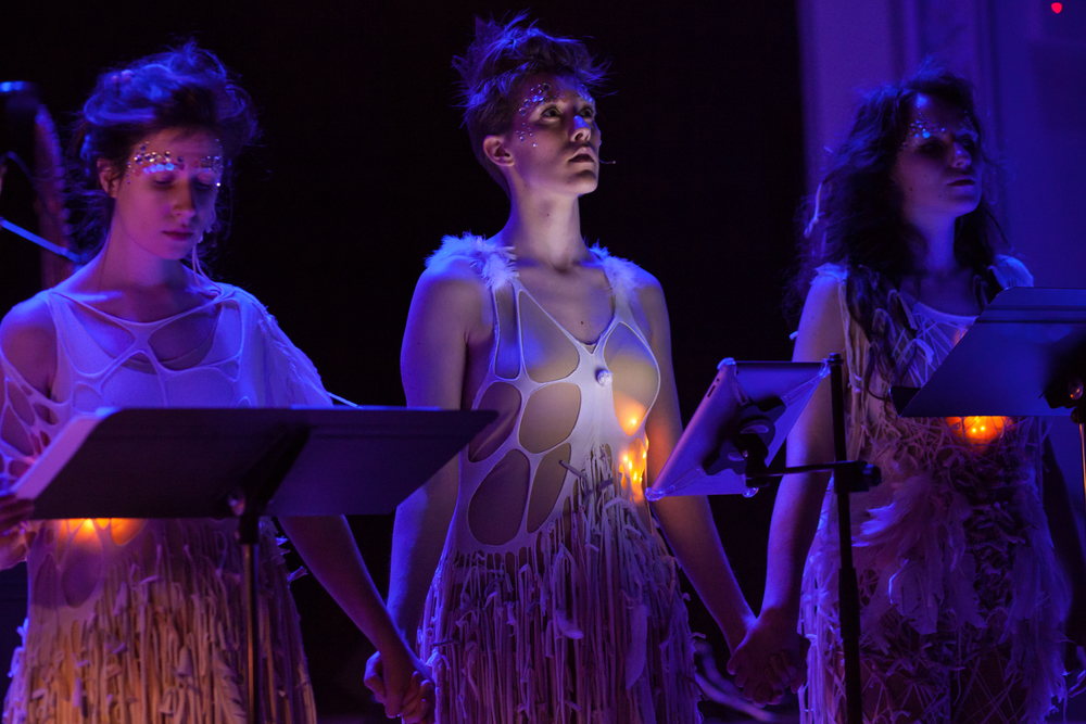 FIRST MOVEMENT: Gabrielle Herbst, Lucy Dhegrae, and Ariadne Greif. Photo by Mekko Harjo