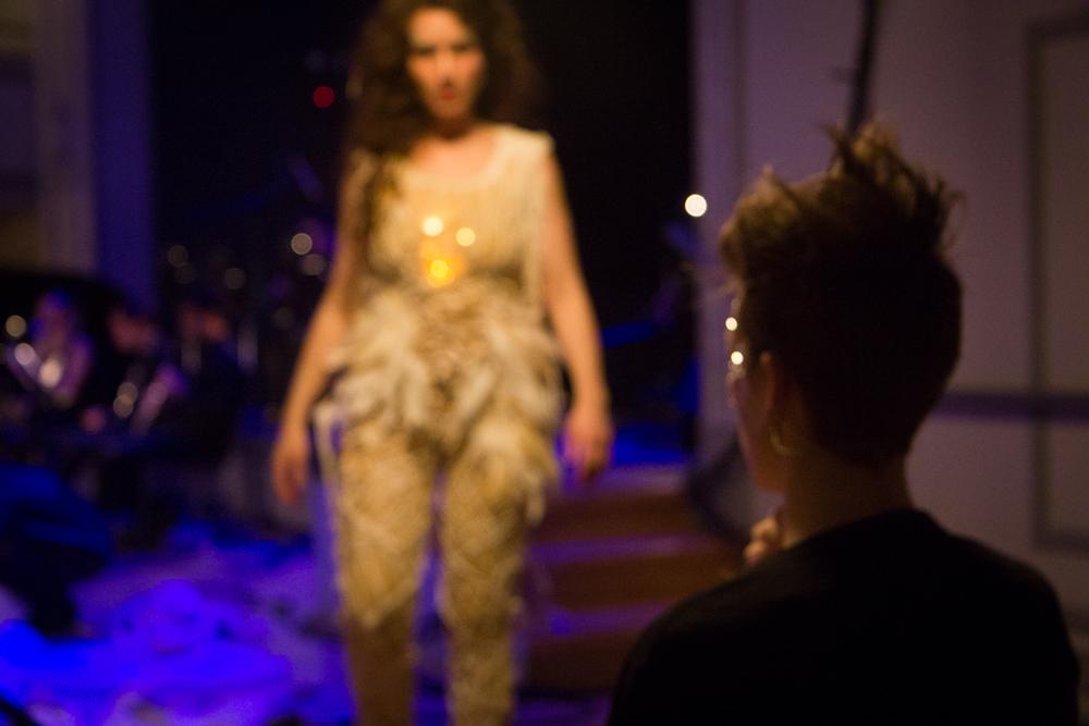 REHEARSAL: Ariadne Greif walking towards Lucy Dhegrae