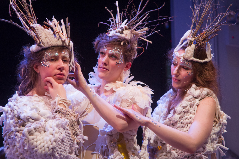 THIRD MOVEMENT: (left to right) Gabrielle Herbst, Lucy Dhegrae and Ariadne Greif post crowning ceremony. Photo by Dorian Iten