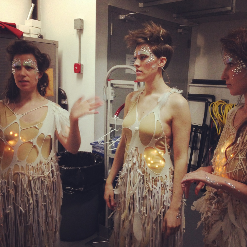 Gabrielle, Lucy, and Ariadne a few moments before the performance began, wearing costumes for first movement.