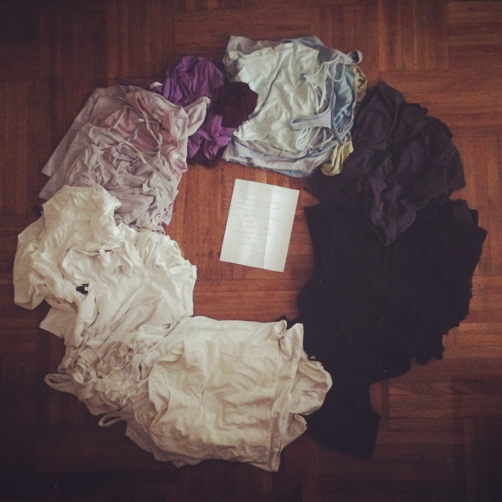 Eileen Fisher donated T-shirts for the workshop  ... ready to be turned into yarn. Photo by Zaida Adriana Goveo Balmaseda