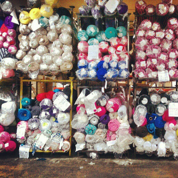 Stock fabric at a knitwear garment factory in Brooklyn, NY from which we gather cutting room floor scraps to then spin. Photo by Zaida Adriana Goveo Balmaseda