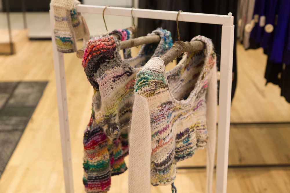 BALMASEDA hand-knit/hand-spun recycled fiber yarn pieces at the Eileen Fisher/Bloomingdale's event.Photo by Dorian Iten