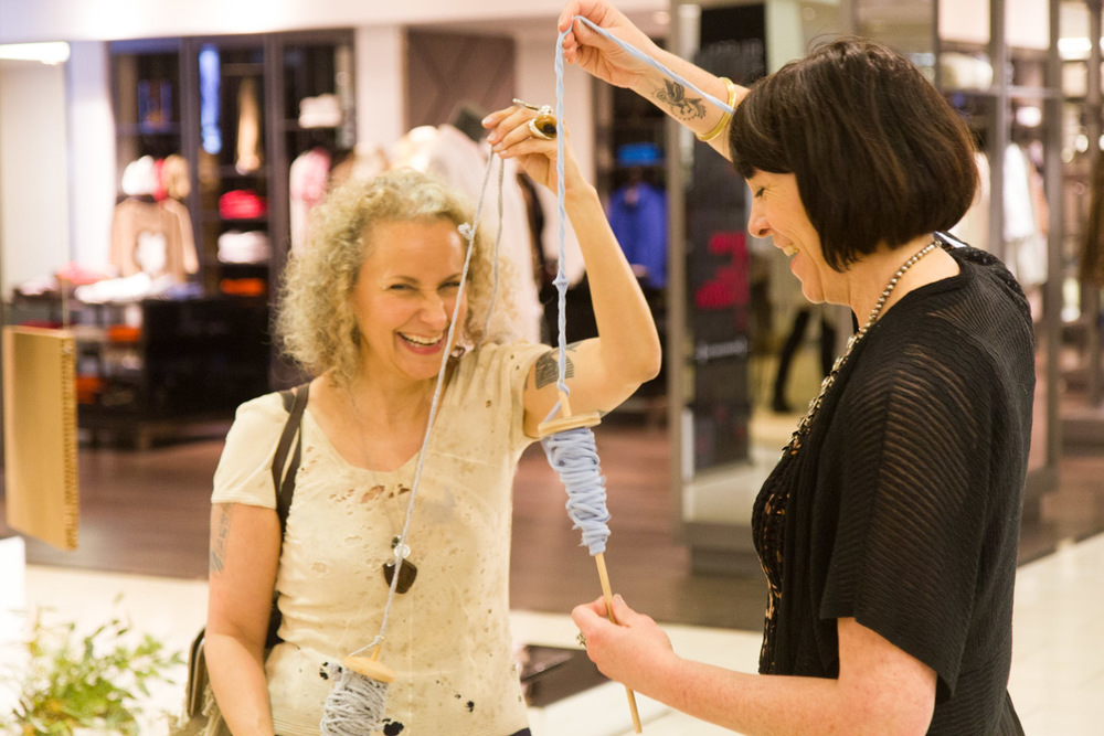 So fun! Sass Brown and Amy Du Fault hard at work (and play) at the Eileen Fisher /Bloomingdale's Earth Day event. Photo by Dorian Iten