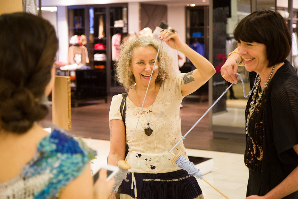 Zaida,Sass Brown, and Amy Du Fault hard at work (and play) at the Eileen Fisher /Bloomingdale's Earth Day event. Photo by Dorian Iten