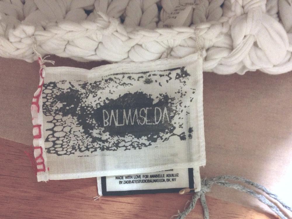 DETAIL of the hand-made custom BALMASEDA label for Fashion Revolution Day. Photo by Zaida Adriana Goveo Balmaseda