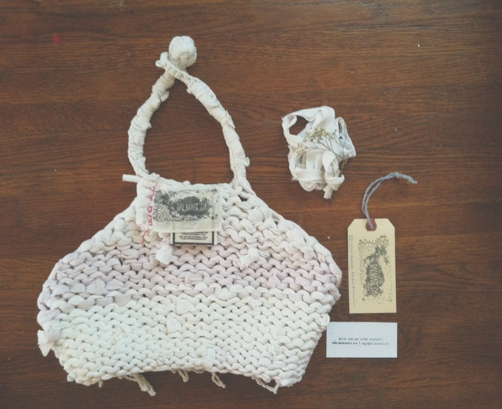 Amabelle Aguiluz sent over this image of the things inside her BALMASEDA package... Hand-knit recycled T-shirt yarn cropped halter top (shown inside-out) with custom hand-made Fashion Revolution Day BALMASEDA label, tags, love-note, and a mini-bundle of T-shirt yarn used for wrapping! Photo by Amabelle Aguiluz