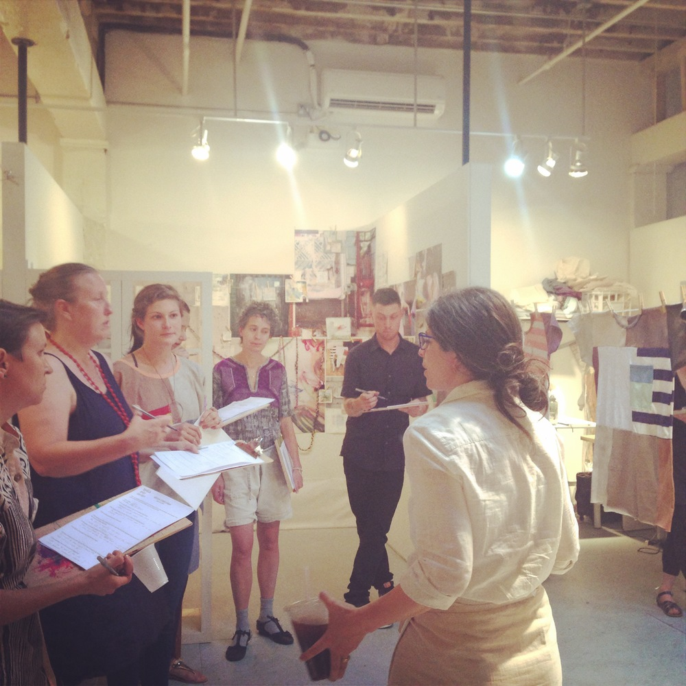 Jordana Munk Martin (President of TAC's Board of Director's and Founder of Oak Knit Studio) discussing work during our last AIR critique... with Tara St. James, Annie Coggan, Pascale Gatzen, other visiting critics and the residents. June 2014, Photo by Zaida Adriana Goveo Balmaseda.