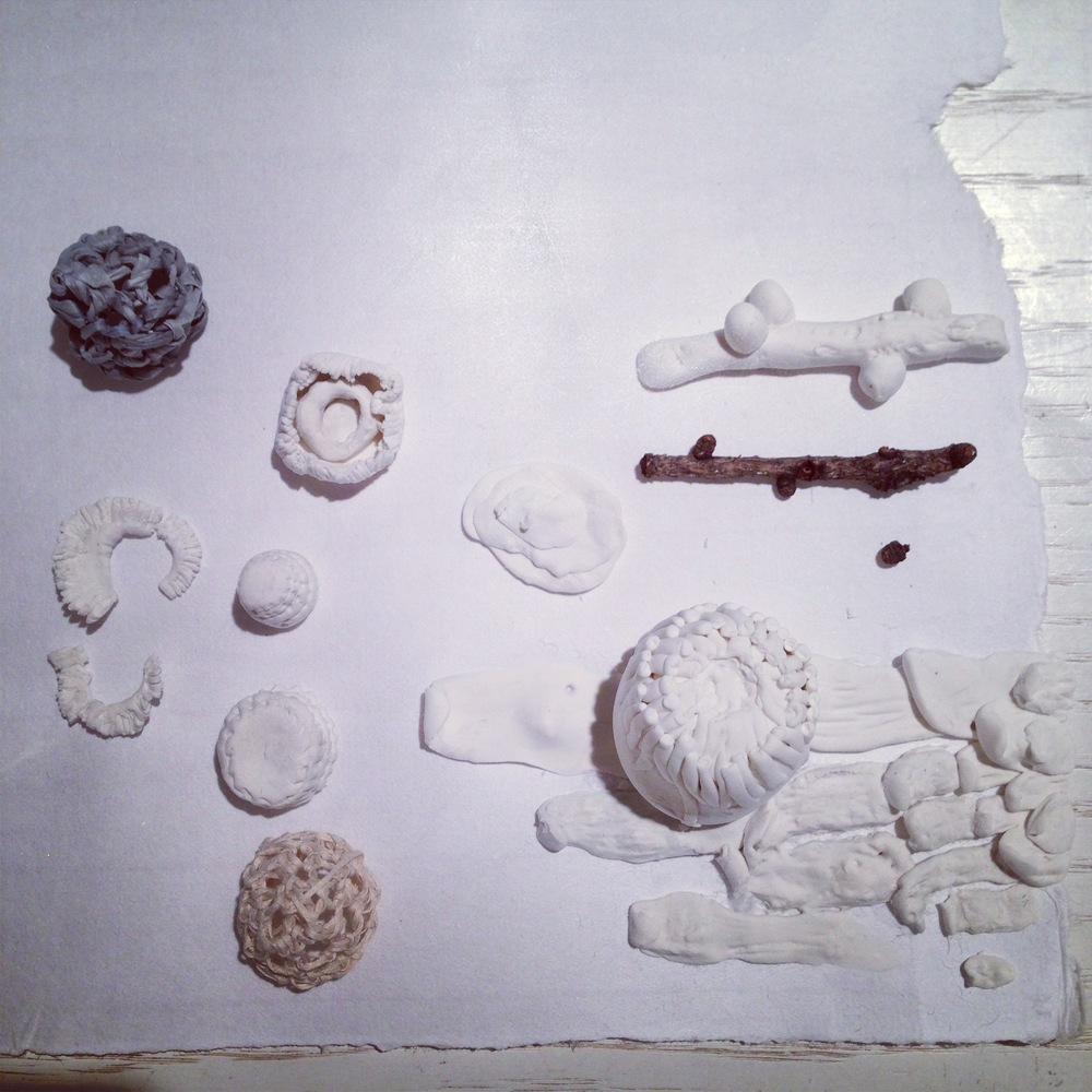 Some of my shape explorations (using foam-clay, and paper yarn) during AIR Drawing Marathon lead by Jordana Munk Martin in Fall 2013. Photo by Zaida Adriana Goveo Balmaseda.